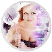 Beautiful Woman In Flight Of Fantasy Round Beach Towel