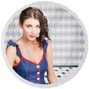 Beautiful Young Brunette Pin-up Woman  Round Beach Towel