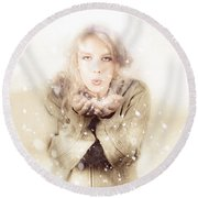Beautiful Young Woman Blowing Snow In Winter Style Round Beach Towel