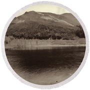 Beauty Of A Loch And Natural Surroundings In The Scottish Highlands Round Beach Towel