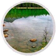 Beauvert Lake In Jasper Np-ab Round Beach Towel