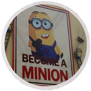 Become A Minion Round Beach Towel