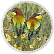 Bee-eaters Round Beach Towel