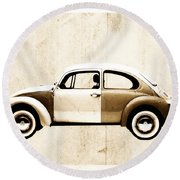 Beetle Car Round Beach Towel by David Ridley