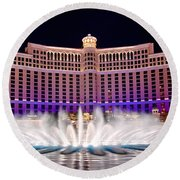 Bellagio Hotel And Casino At Night Round Beach Towel