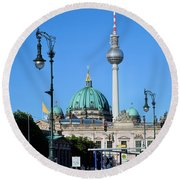 Berlin Cathedral And Tv Tower Round Beach Towel