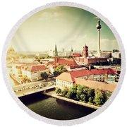 Berlin Germany View On Major Landmarks Round Beach Towel