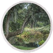 Beside The Pond Round Beach Towel