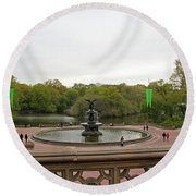 Bethesda Fountain Nyc Round Beach Towel