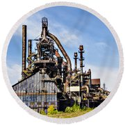 Bethlehem Steel Mill Round Beach Towel