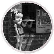 Betty Boop 1 Round Beach Towel by Frank Romeo