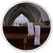 Bible In Temple Round Beach Towel