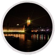 Big Ben And The House Of Parliment On The Thames Round Beach Towel