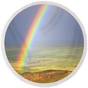 Big Horn Rainbow Round Beach Towel