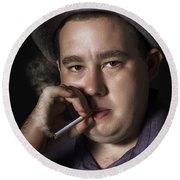 Big Mob Boss Smoking Cigarette Dark Background Round Beach Towel