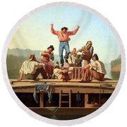 Bingham's The Jolly Flatboatmen Round Beach Towel