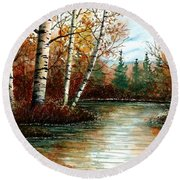 Birch Pond Round Beach Towel