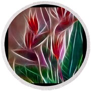 Bird Of Paradise Fractal Round Beach Towel by Peter Piatt