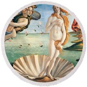 Birth Of Venus Round Beach Towel