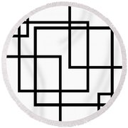 Black And White Art - 137 Round Beach Towel
