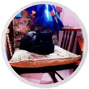 Black Cat With One White Whisker Round Beach Towel