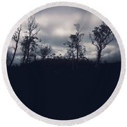 Black Silhouette Trees In Spooky Tasmanian Forest Round Beach Towel