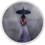 Black Umbrella Round Beach Towel by Joana Kruse