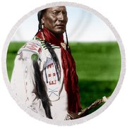 Blackfoot Man With Braided Sweet Grass Ropes Round Beach Towel