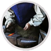 Blacksmith At The Old Fort Round Beach Towel