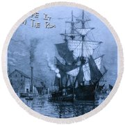 Blame It On The Rum Schooner Round Beach Towel by John Stephens