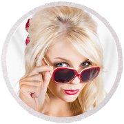 Blond Woman In Sunglasses Round Beach Towel