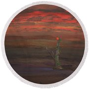 Bloom In The Murky Water Round Beach Towel