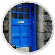 Blue Door Round Beach Towel
