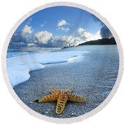 Blue Foam Starfish Round Beach Towel
