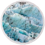 Blue Glacier Ice Background Texture Pattern Round Beach Towel