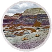 Blue Mesa Trail In Petrified Forest National Park-arizona Round Beach Towel