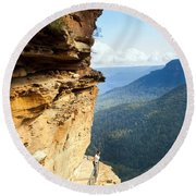 Blue Mountains Walkway Round Beach Towel