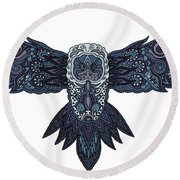 Blue Owl Round Beach Towel
