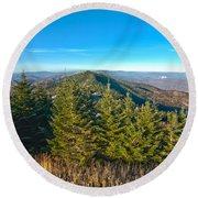 Blue Ridge Mountains North Carolina Round Beach Towel