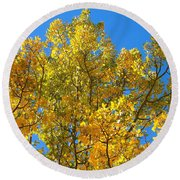 Blue Skies And Golden Aspen Trees Round Beach Towel