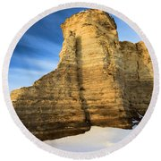 Blue Skies At Monument Rocks Round Beach Towel