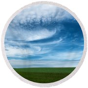 Blue Skies Round Beach Towel