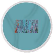Blue Static Round Beach Towel