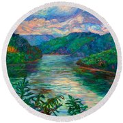 Bluestone Lake Round Beach Towel