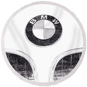 Bmw Z3 Emblem In Black Round Beach Towel