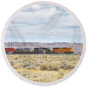 Bnsf 9112 Westbound From Boron Round Beach Towel