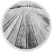 Boardwalk Of Distance Round Beach Towel