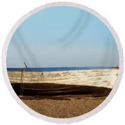 Boat On Shore 02 Round Beach Towel by Pixel  Chimp