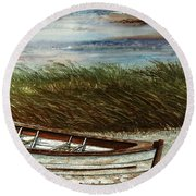 Boat On Shore Round Beach Towel
