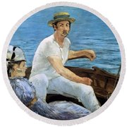 Boating Round Beach Towel by Edouard Manet